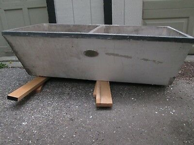 Vintage Antique Concrete Deep Double Wiehawken Laundry Wash Sink Garden Studio