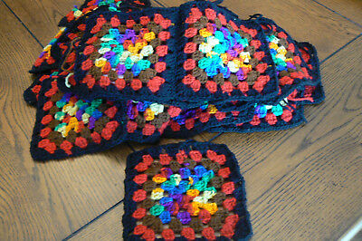 """Lot of 34 Vintage Hand Crocheted Granny Squares Multi-Color 5 1/2"""" FREE US SHIP"""