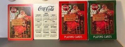 Coca Cola Nostalgia Double Deck Santa Playing Cards With Embosse Tin 1998