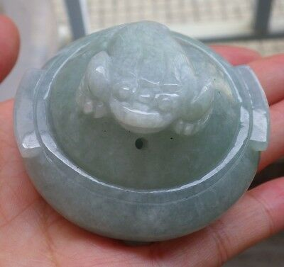 Certified Green 100% Natural A Jade jadeite Display Frog Toad Snuff Bottle 843