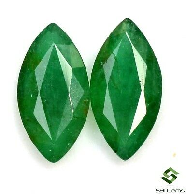 10x5 mm Natural Emerald Marquise Cut Pair 1.77 Cts Certified Calibrated Gemstone