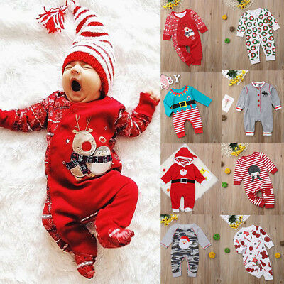 USA Newborn Baby Girl Boy Outfit Romper Jumpsuit Bodysuit Kid Xmas Lots Clothes
