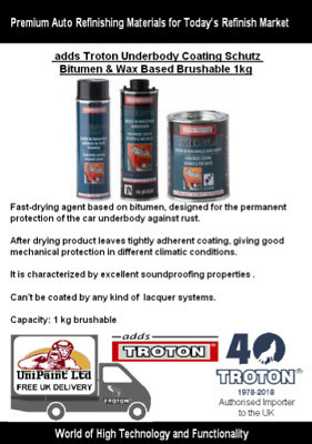 adds Troton Brushable Under Body Seal Car Sealant Schutz+Wax 1kg **Fast Cure**