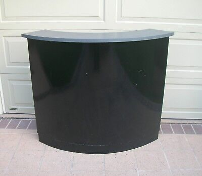 Small SHOP COUNTER or BAR Modern Curved Shape Black Formica Laminate with Shelf