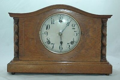 Antique Light Oak Inlaid Mantle Clock,restore.