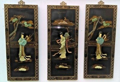 3 x JAPANESE VINTAGE LACQURED WALL PANELS HAND PAINTED WITH MOTHER OF PEARL