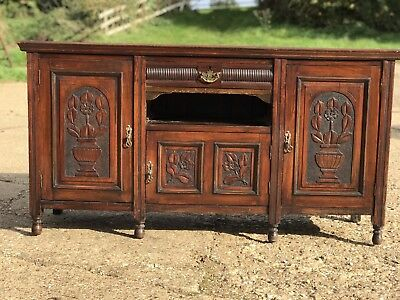 Edwardian Antique Mahogany Carved Sideboard Drawers Cupboard Storage Unit