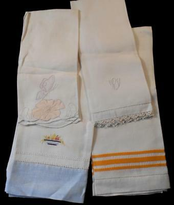 4 Vintage White Linen Guest,hand,kitchen Drying Towels,madeira Huck Emb Monogram