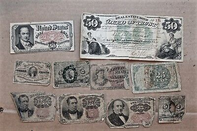US Fractional Currency Lot 50 Cent & 1878 Real Estate Bond. 10 Notes. Money.