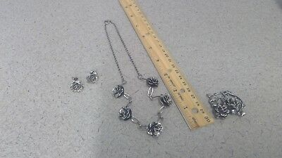 Nice Solid Sterling Silver Estate Jewelry Matching Set. Flowers. 37.3 grams. NOT