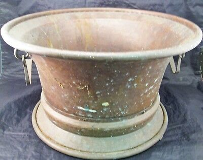 """E87I Arts & Crafts Large Handmade Copper Urn Pot Made In Italy 12.75"""" Diameter"""