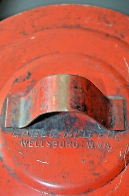 Eagle Mfg Co Wellsburg, Wv #b602  2 Quart Red Lacquer Paint Antique Part Cleaner