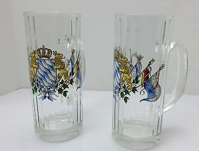 PAIR Vintage German COAT OF ARMS Lions Flags CLEAR RIBBED GLASS Beer Steins .5L