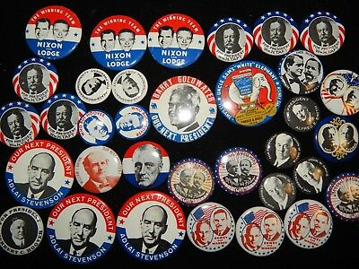 Vintage Reproduction President Campaign Political Roosevelt Nixon Pin Lot