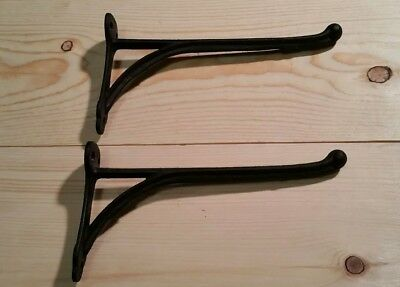 Antique / Vintage Large Cast Iron Wall Mount Coat Hanger Hook Lot Of Two