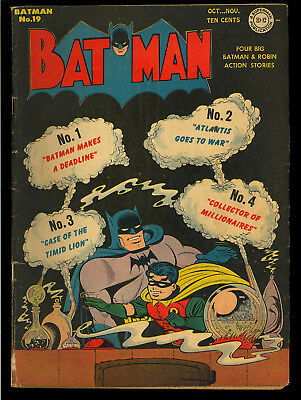Batman #19 Nice Joker Story Original Owner Golden Age DC Comic 1943 VG+