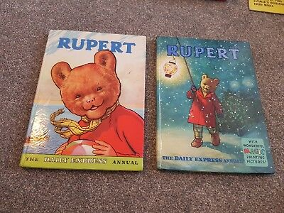 2 Vintage Original 1959 & 1960 Rupert Bear Annuals Price Unclipped 5/-