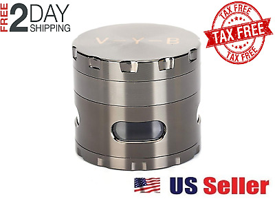 "Large Spice Tobacco Herb Weed Grinder-4 Pcs with Pollen Catcher-2.5"" Gift Gray"