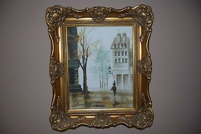 """Oil painting """"Walk along the street"""" in a beautiful frame."""