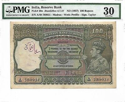 India, Reserve Bank - 100 Rupees, nd (1937). Madras. PMG 30. RARE.