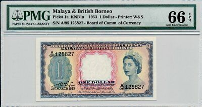 Board of Commissioners of Currency Malaya &British Borneo  $1 1953  PMG  66EPQ