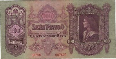1930 100 Pengo Hungary Currency Banknote Note Money Bank Bill Cash Budapest