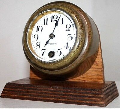 """Antique New Haven """"new Ormond"""" Model 8 Day Marine Ship's Dashboard Cluster Clock"""
