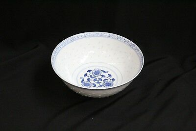Chinese Porcelain Rice Pattern Blue White Flowers Bats Serving Bowl Signed