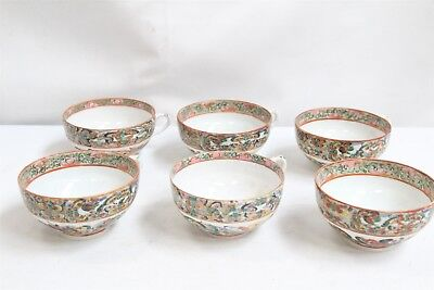6 Chinese 19c Porcelain Butterflies Famille Rose Teacups