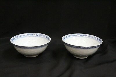 2 Chinese Porcelain Rice Pattern Blue White Flowers Bats Rice Soup Bowls CHINA
