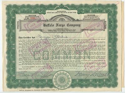 United States 1933 Buffalo Forge Stock Certificate & Documents
