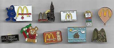 10 ONLY, misc. McDONALDS RESTAURANT PINS