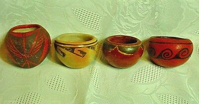 Lot Of 4 Vintage Native American Miniature Clay Pots-All Excellent Condition