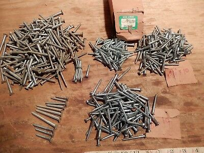 vintage wood screws 2 in. 1 3/4 in. 1 1/2 in. x #10 large lot flat head slotted