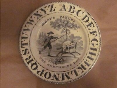 Antique Alphabet Plate Aesop's Fables The Shepard Boy