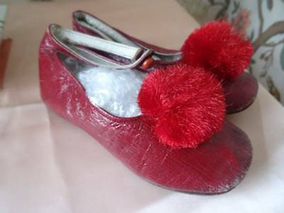 A Stunning Pair Of Late Victorian Child's Red Shoes ~ PomPom C.1900