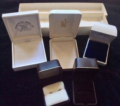 Jewelry Boxes Vtg Plastic Leatherette Cardboard