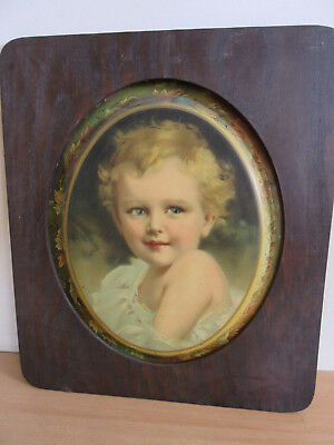 Antique Victorian Chromolithograph Baby Girl on Metal Advertising Oval tray