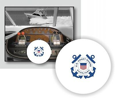WHITE 100% Microfiber US COAST GUARD AUXIL Stretchable Boat Steering Wheel Cover