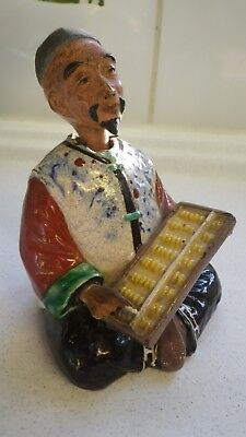 Antique Chinese Japanese Potter Okimono Nodding Head Figure Of A Man With Abacus