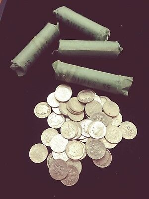 Roll of Unsearched Roosevelt .900% Silver Dimes, 50 coins, Circulated lot C