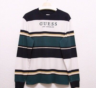 0987d2e5be Guess jeans Full Sleeves striped t shirt logo USA Los Angeles vintage boxy  fit