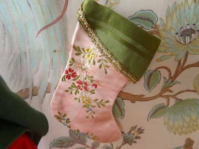 An Antique Christmas Heirloom French Brocade Christmas Stocking