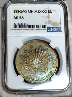 1886 Mo M.H. Mexico Silver 8 Reales- NGC AU 58 Green-Blue Toned