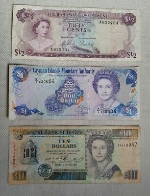 Worldwide Bahamas Belize $ Lot 3 Different Banknotes Notes British Commonwealth