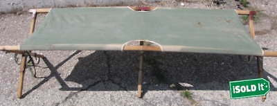 Vintage U.s. Military Olive Green Canvas Folding Field Cot With Wooden Frame