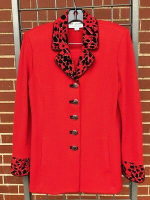 St. John Collection by Marie Gray red 2pc skirt & jacket