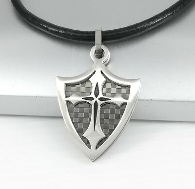 Silver Medieval Knights Shield Templar Cross Pendant Black Leather Necklace