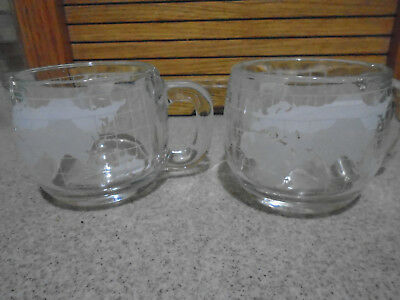 2 Vtg. NESTLE Nescafe Globe World Atlas Etched Frosted Glass Coffee Mugs/Cups