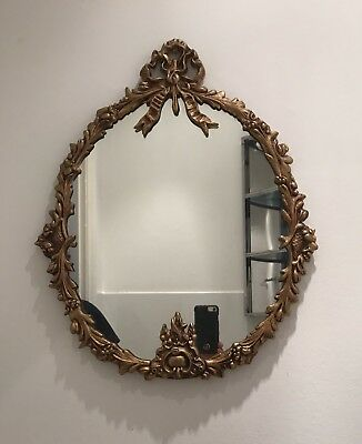 Metal Antiquated Gold Carved Framed Victorian Mirror